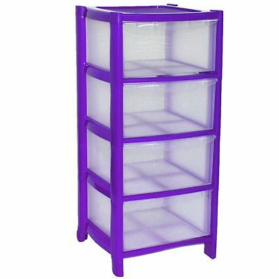 4 Plastic Storage Drawers Large Towers Chest Unit With Wheels Toys Clothe PURPLE
