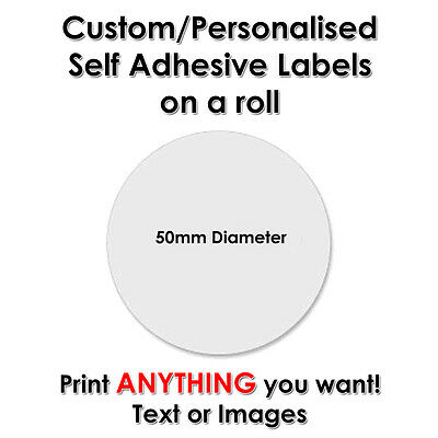 1000 Round Circle Stickers Labels CUSTOM PERSONALISED PRINTED - 50mm Diameter