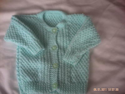 Hand Knitted Green Baby Cardigan Size 0-3 Months.