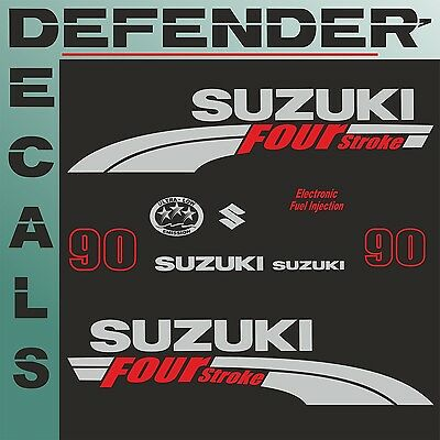 Suzuki 90 hp Four Stroke outboard engine decal sticker kit reproduction 90HP
