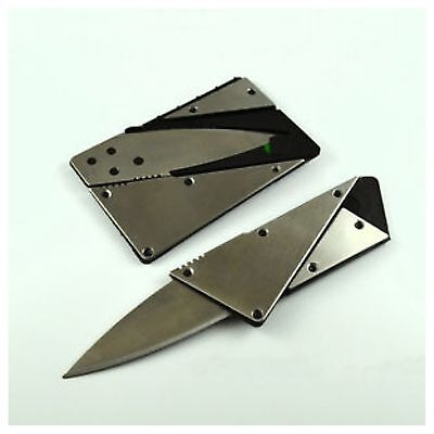 Steel Portable Credit Card Thin Cardsharp Wallet Folding Pocket Knife Camping