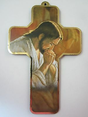 """Jesus in Prayer Picture Wall Cross on Wood  5"""" Made in Italy"""