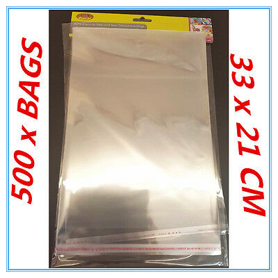500 X Peel And Seal A4 Cellophane Bags - Large - Party Birthday Event Packing Ap