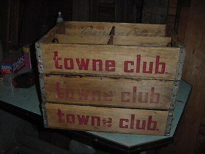 VINTAGE WOOD SODA CRATE BOX FROM THE 70s TOWNE CLUB LOT OF 3
