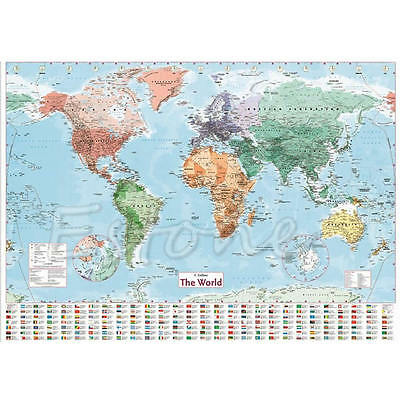 Wall MAP OF THE WORLD Chart Political Flags Home Art Poster World Map Decor Gift