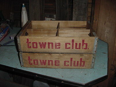VINTAGE WOOD SODA CRATE BOX FROM THE 70s TOWNE CLUB LOT OF 2