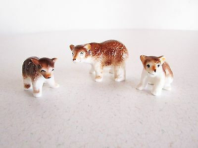 Mother 2 baby brown bear miniatures Ceramic Made in Japan Vintage Cute Adorable