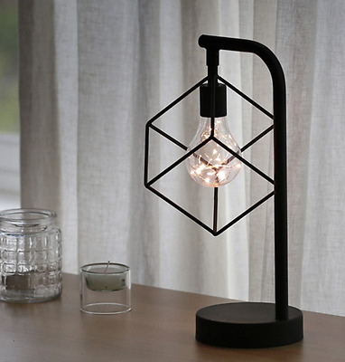 IndustrialGeometric Hexagon LED Light Battery Table Desk Lamp Decor Gift