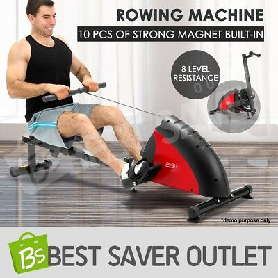 Rowing Machine Power Rower Exercise Resistance with Magnetic Flywheel Gym