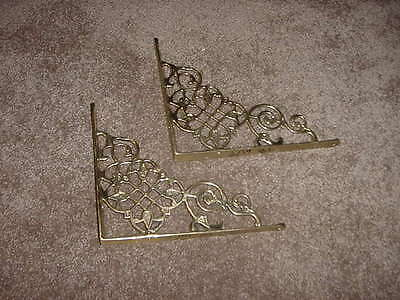 VINTAGE CAST BRASS SHELF SHELVE BRACKET LOT OF 2 BRACKETS 9 x 7 1/2