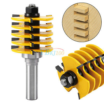 "1/2"" Shank Box Finger Joint Router Bit Woodworking Cutter Tools 5 Blade 3 Flute"