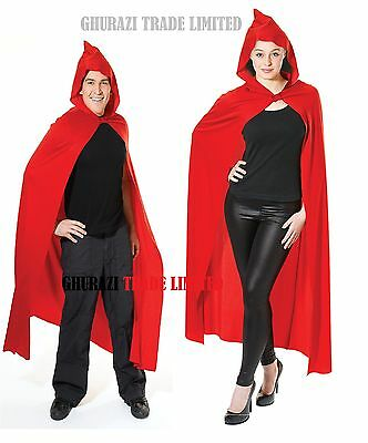 Red Hooded Cape Long Deluxe Vampire Cloak Halloween Ladies Men's  Fancy Dress