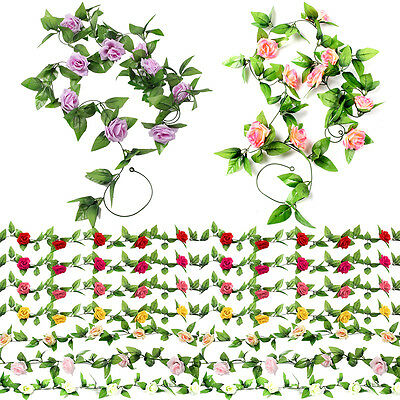 2X8Ft Artificial Rose Garland Silk Flower Vine Ivy Wedding Garden Decoration UK
