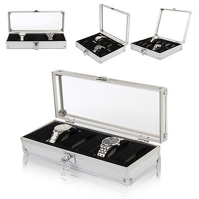 Watch Storage Case Bracelet Organiser Aluminium Display Box With Pillows Holders