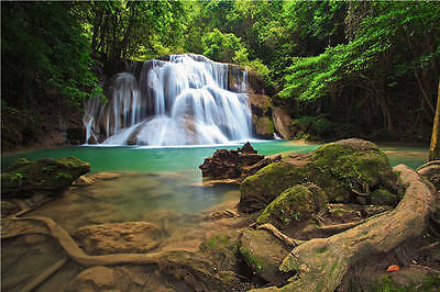 Moss Rock Waterfall Forest 3D Full Wall Mural Photo Wallpaper Printed Home Decal