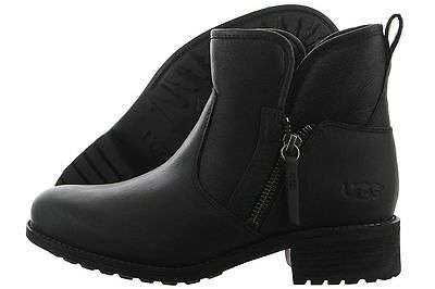 6191a4e7f2b UGG AUSTRALIA 1013366 Lavelle Black Leather Ankle High Heel Boots ...