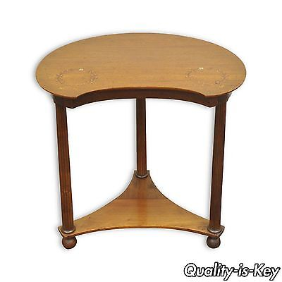Antique Victorian Mahogany Mother of Pearl Inlay Kidney Shaped Side Accent Table