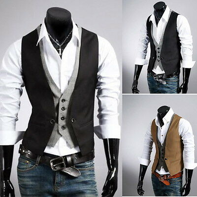 Men's Casual Fashion Double Layered Fit Vest Boy's Waistcoat Slim Jacket Tops