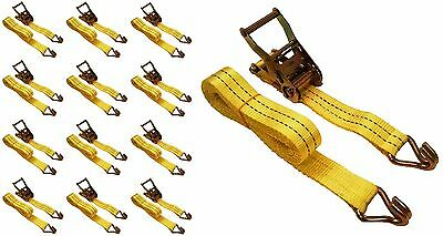 "12 Pc 1.5"" inch x 15' Ft Ratchet Tie Down Cargo Straps J Hooks 12 pack"