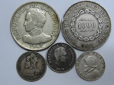 Colombia Brazil Panama Lot 5 Coins Silver