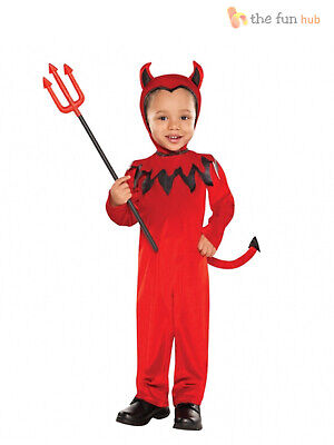 Age 1-3 Boys Toddler Red Devil Halloween Hooded Onesie Fancy Dress Costume Party