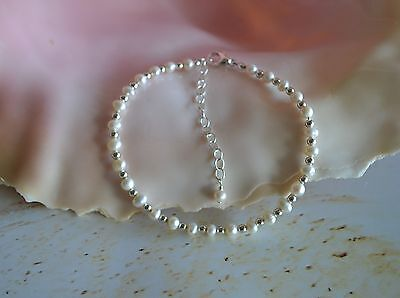 White Freshwater Pearl & .925 Sterling Silver Bead Ankle Bracelet 8 to 10 Inches
