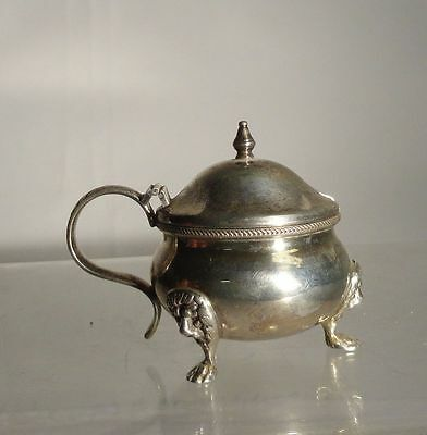 Antique Vintage Sterling Silver Mustard Pot Blue Liner Lion Faces Salt