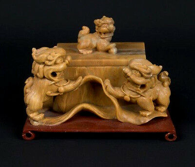 China 20. Jh. Speckstein A Chinese Carved Soapstone Shi Shi Box - Cinese Chinois