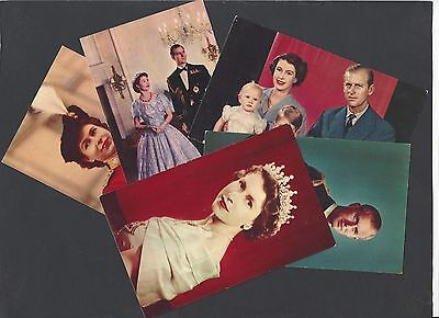 5 Postcards of Queen Elizabeth ll and the Royal Family 1952
