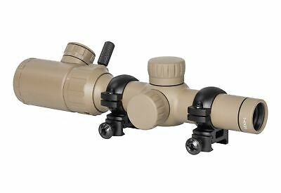 Monstrum Tactical 1-4x20 Rifle Scope w/ Rangefinder Reticle, Reversible Ring FDE