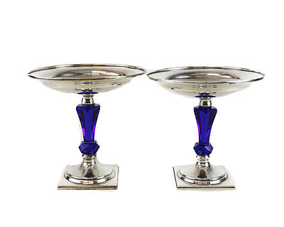 Pair Hawkes Sterling Silver, Cobalt Blue Art Glass Stemmed Compotes c1950 #S713