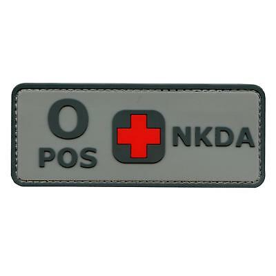 ACU O POS NKDA blood type PVC rubber 3D gray morale combat fastener patch