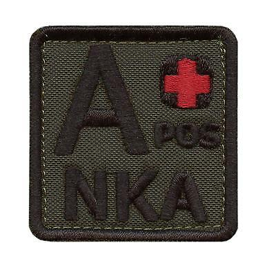 A+ APOS NKA blood type olive drab OD embroidered NKDA morale tactical hook patch