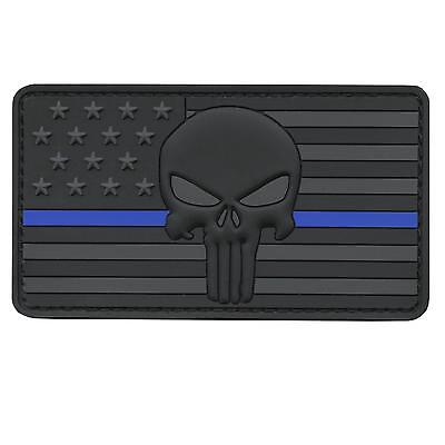 blue line punisher skull USA american flag PVC 3D rubber touch fastener patch