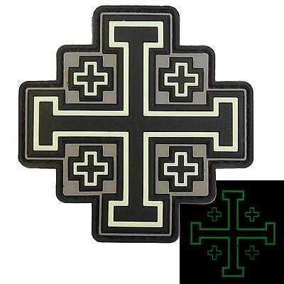 Glow Dark Jerusalem Cross PVC rubber ACU templar crusaders patch VELCRO® brand