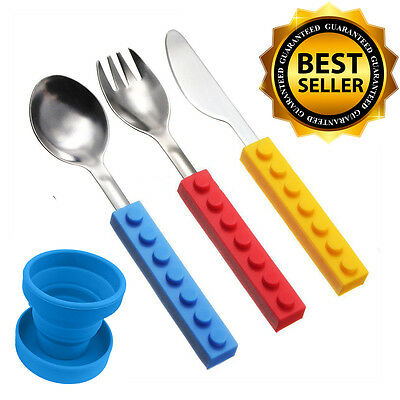 Snack & Stack Kids' Interlocking Brick Utensils & Silicone Collapsible Cup (4pc)