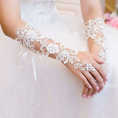 Custom Made Vintage Fingerless Bridal Gloves Fabulous Lace Diamond Flower Glove