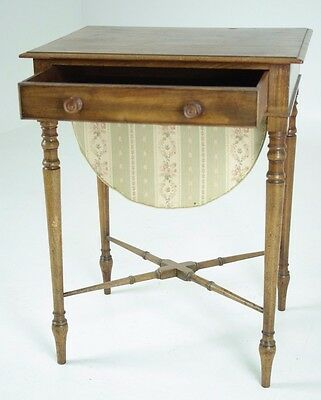 B429 Victorian Mahogany Sewing Table with Slide out Basket Raised on Turned Legs