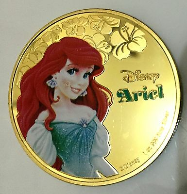 1oz Disney Ariel - The Little Mermaid Colourized Finished in 24K Gold CLAD Coin