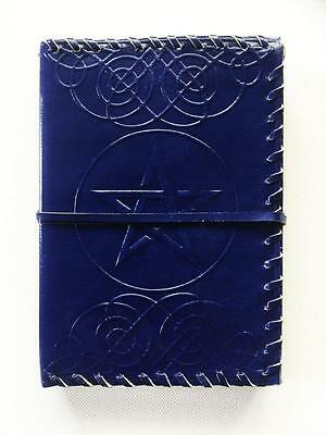 Leather Bound Journal Book Of Shadows Blue Pentagram / Pentacle Blank Pages