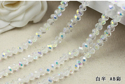 150 (±3) PCS , 4 mm  Colors AB Crystal Faceted Abacus Loose Beads
