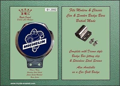 Royale Car Scooter Bar Badge + Fittings - RUNNING MICHELIN MAN BLUE - B1.2992