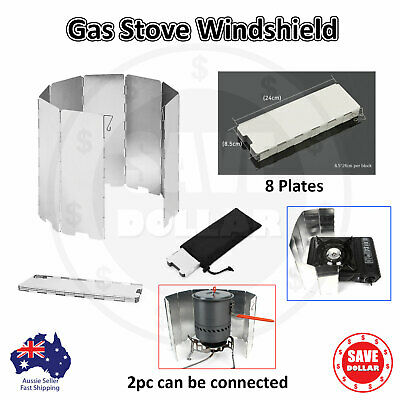 Foldable & Extensible Aluminum Alloy BBQ Gas Stove Wind Shield Screen with Pouch