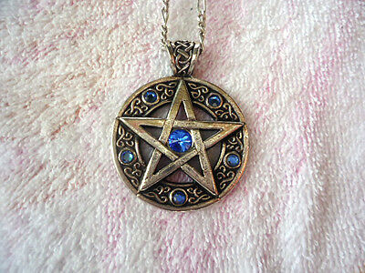 Pentagram Pendant Celtic Design Silver With Blue Stones And Silver Chain