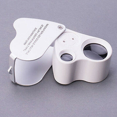 60X 30X Glass Magnifying Magnifier Jeweler Eye Jewelry Loupe Loop Lens LED 2in1