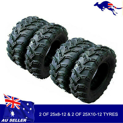 Set 4 ATV Quad Farm bike TYRE 25X8-12 + 25x10-12 STUD ATV TRAILER FARM OFFROAD