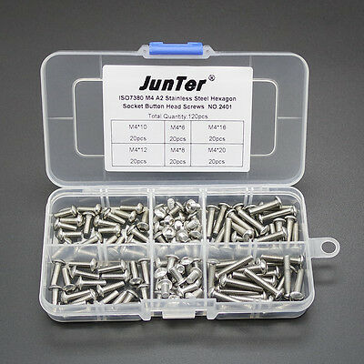 Qty120 M4 A2 Stainless Steel Assortment Kit Button Head Hex Socket Screw NO.2401