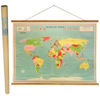 Rex London WORLD MAP HANGING PAPER WALL CHART 100 X 73CM IN A TUBE