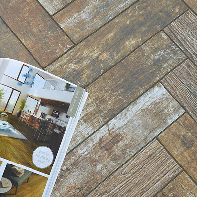 Lilliputian Toasted Cherry Brown Wood Effect Ceramic Floor Wall Tiles