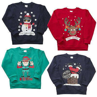 Childrens Boys Christmas Jumper Sweatshirt Xmas Novelty Winter Crew Neck 4KIDZ